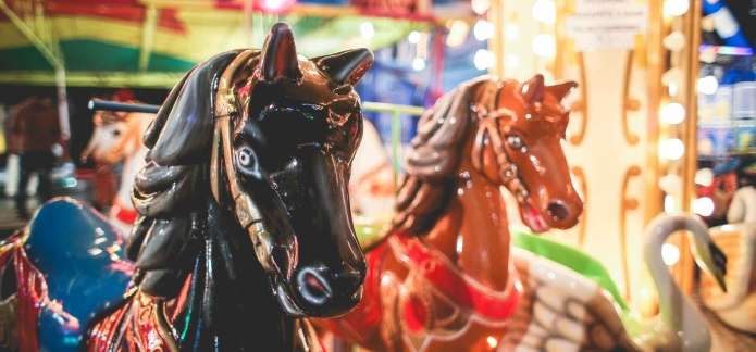 blur carnival carousel evening fairground theme park